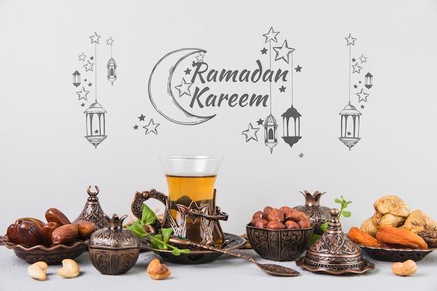 Belle nature morte avec des éléments de ramadan