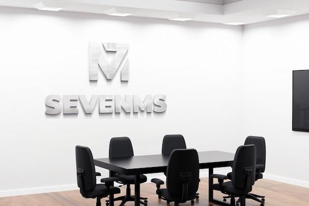 Belle salle de réunion de bureau de maquette de logo