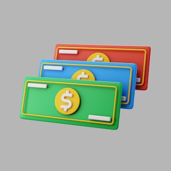 Billets d'un dollar en papier 3d