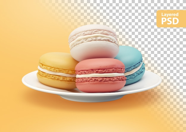 Biscuits colorés sur une plaque blanche