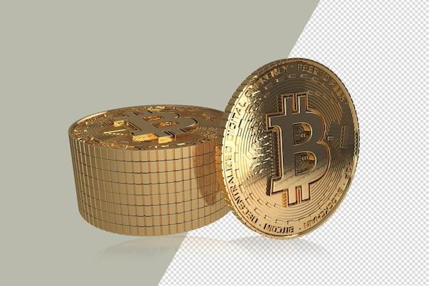 Bitcoins d'or sur fond blanc illustration 3d