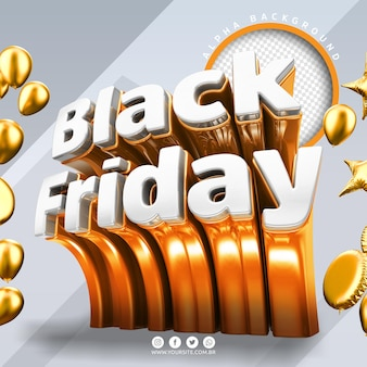 Black friday 3d logo pour la composition