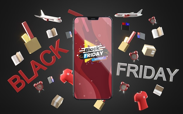 Black friday mobile en vente maquette fond noir