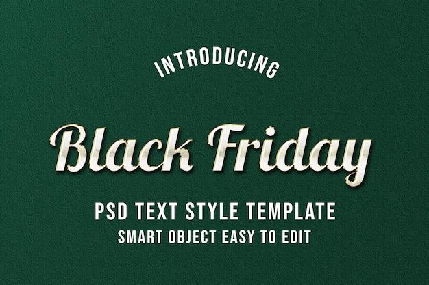 Black friday - modèle d'effet de texte psd de luxe