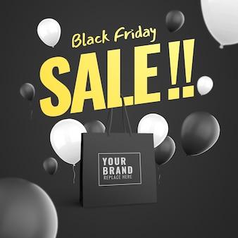 Black friday et publicité de maquette de sac