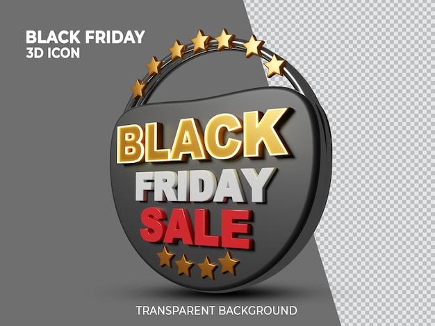Black friday super vente icône isolée en rendu 3d vue latérale