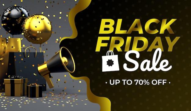Black friday vente fond de flyer de luxe doré avec mégaphone et espace de texte en rendu 3d