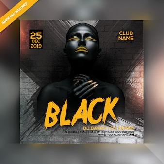 Black night party flyer