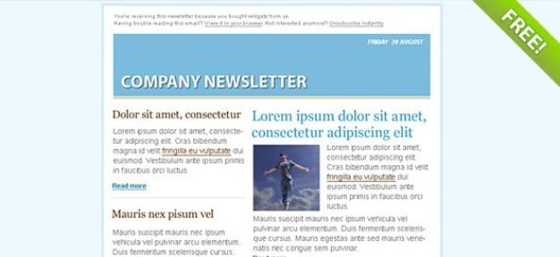 Bleu modèle de bulletin email marketing