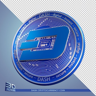 Blue coins dash cryptocurrency rendu 3d isolé