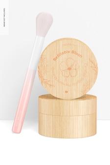 Blush rechargeable avec maquette de pinceau, empilé
