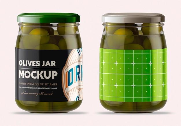 Bocal en verre transparent avec conception de maquette d'olives isolé