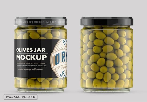 Bocal en verre transparent avec maquette d'olives