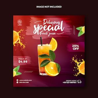 Boisson de jus de fruit d'orange biologique d'été publication sur les réseaux sociaux bannière web