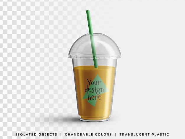 Boisson de smoothie d'été froid à emporter en plastique jetable emballage de tasse transparent avec paille isolé