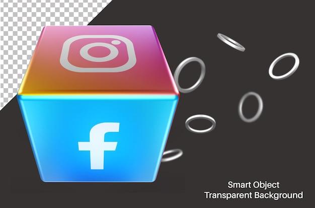 Boîte 3d avec icône de médias sociaux facebook