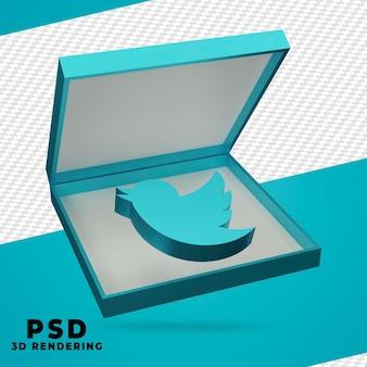 Boîte 3d rendu twitter isolé