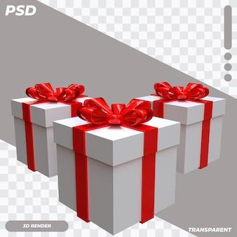 Boîte 3d avec ruban rouge