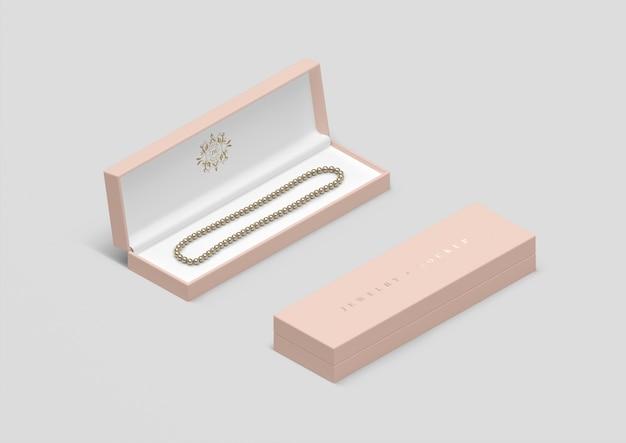 Boîte à bijoux grand angle avec collier de perles