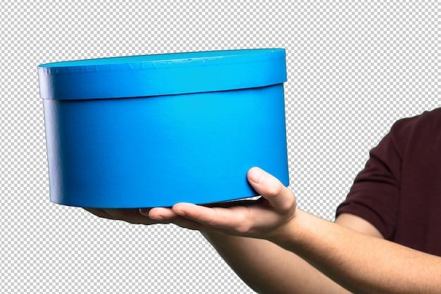 Boîte bleue sur fond blanc