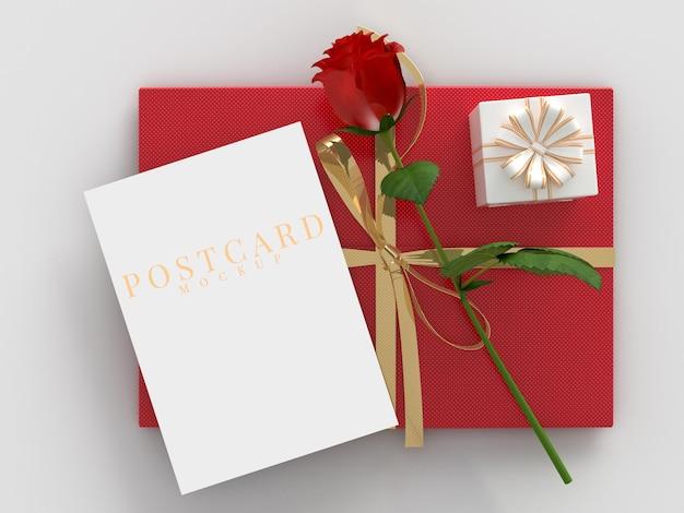 Boîte-cadeau de célébration de la saint-valentin heureuse avec maquette de carte