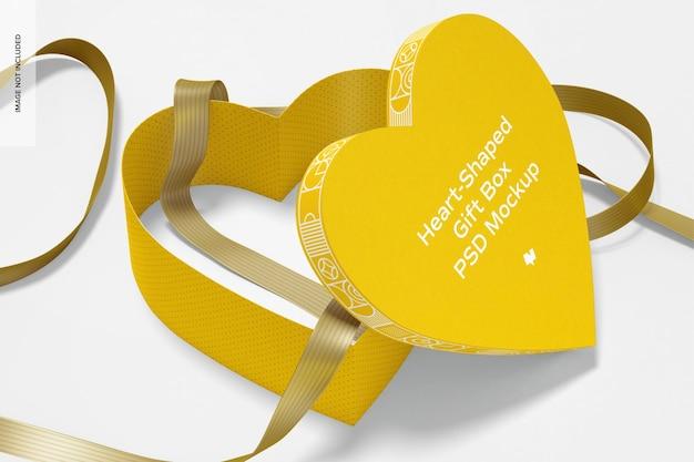 Boîte-cadeau en forme de coeur avec maquette de ruban en papier, vue en perspective