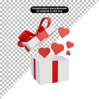 Boîte cadeau illustration 3d ouverte et icône de l'amour