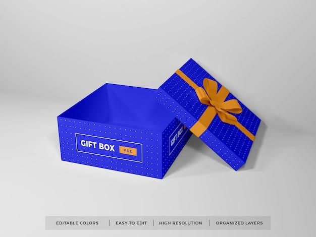 Boîte-cadeau de noël avec maquette de ruban isolé