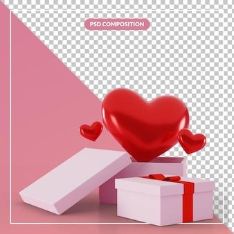 Boîte cadeau ouverte 3d avec symbole de coeur d'amour rouge flottant dans le rendu 3d