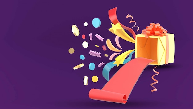 La boîte cadeau ouverte avec tapis rouge, pièces d'or et ruban sur le violet