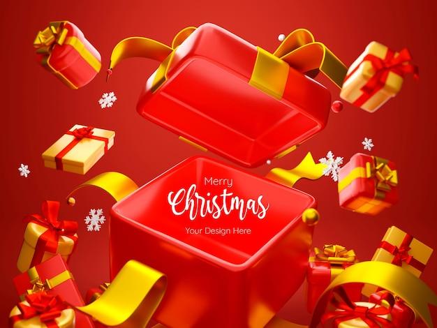 Boîte-cadeau ouverte sur le thème de noël pour l'illustration 3d de la publicité du produit