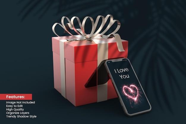 Boîte-cadeau de rendu 3d de la saint-valentin avec conception de maquette de smartphone