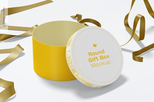 Boîte-cadeau ronde avec maquette de ruban, ouverte
