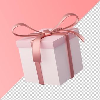 Boîte cadeau ruban rose isolé rendu 3d transparent