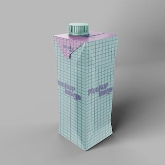 Boîte de carton de lait avec maquette de bouchon à vis