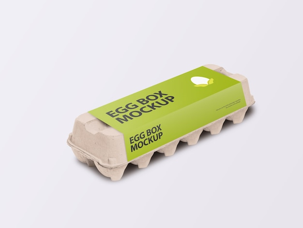 Boîte de carton d'oeufs en carton avec vue isométrique de maquette d'étiquette d'emballage