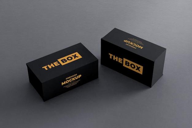 Boîte à chaussures maquette noir jaune réaliste