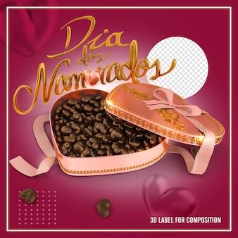 Boîte de chocolat rose en forme de coeur avec noeud, carte dia dos namorados