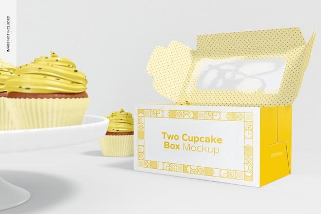 Boîte à cupcakes et délicieux cupcakes