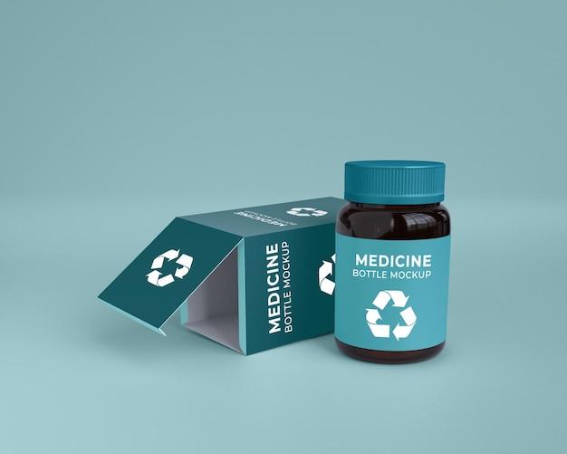 Boîte d'emballage de soins de santé de médecine et maquette de bouteille de pilule