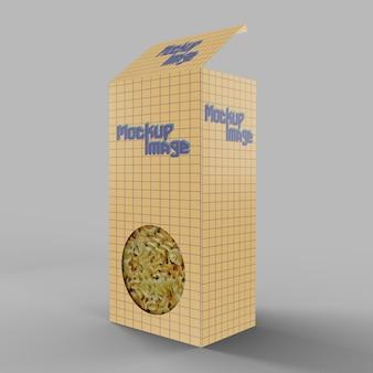 Boîte à fusilli en papier avec maquette de fenêtre