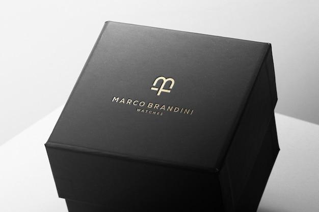 Boîte de luxe de maquette de logo