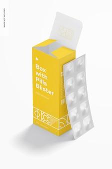 Boîte avec maquette de blister de pilules
