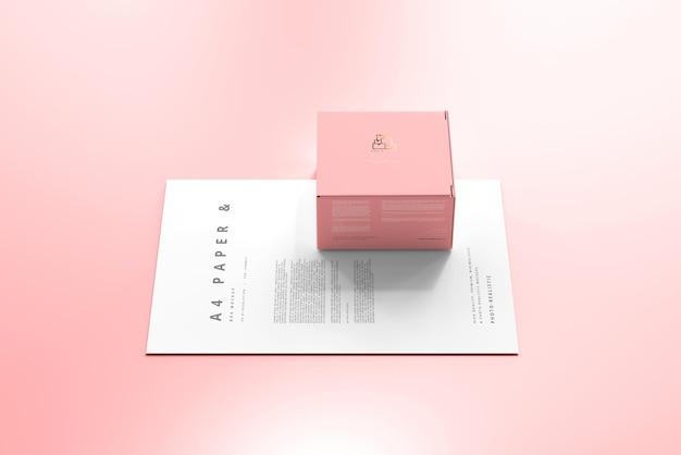 Boîte avec maquette de papier a4
