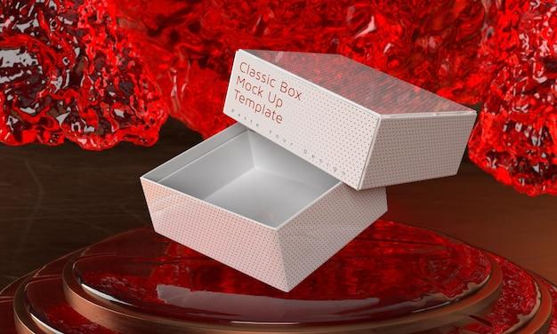 Boîte maquette piédestal triple cylindre avec fond de glace affichage de la scène de présentation couleur modifiable