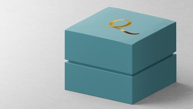 Boîte de montre de bijoux bleue de maquette de logo luxueux