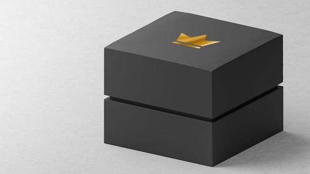 Boîte de montre de bijoux noire de maquette de logo luxueux