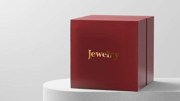 Boîte de montre de bijoux rouge maquette logo luxueux