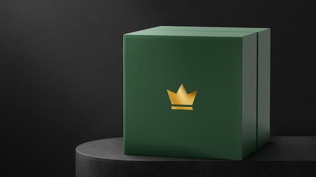 Boîte de montre à bijoux verte avec maquette de logo luxueux