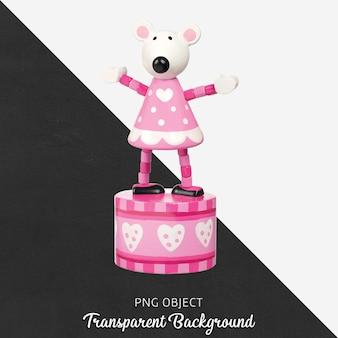 Boîte à musique en bois rose et blanche sur fond transparent